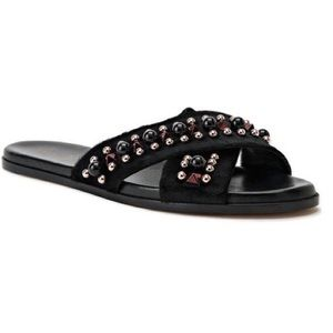Christina Lombardi Aria Pony Black Slide Sandals